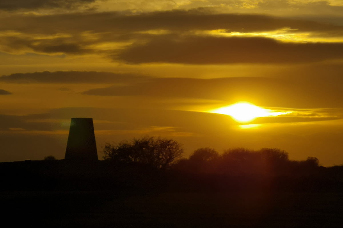 Sunset over Cleadon Mill, Cleadon Hills, South Shields, 2018 - photo credit & copyright: Marie Gallagher