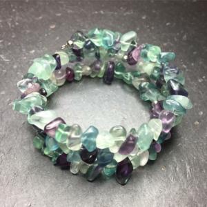 Multicoloured fluorite memory wire wrap bracelet